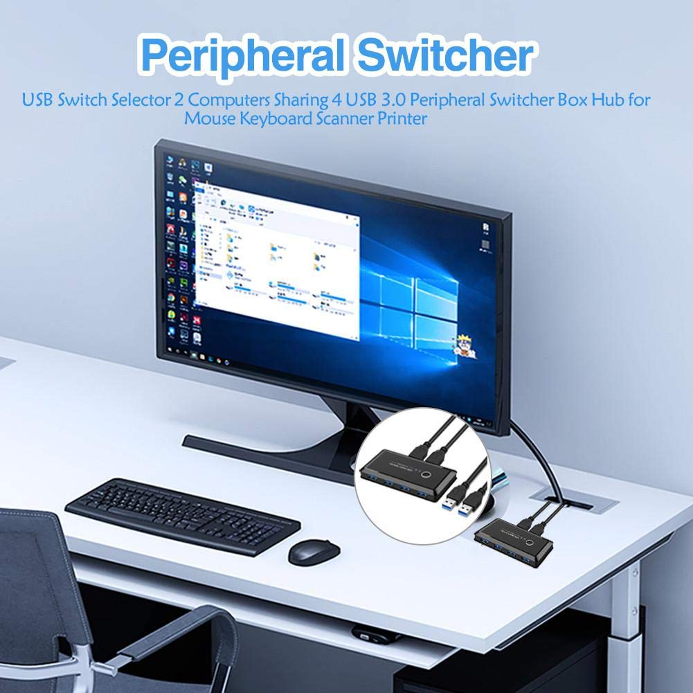 Activane USB Switch Selector 4-Port USB 3.0 Sharing Box Peripheral Switcher Box Hub for Mouse Keyboard Scanner Printer Universal