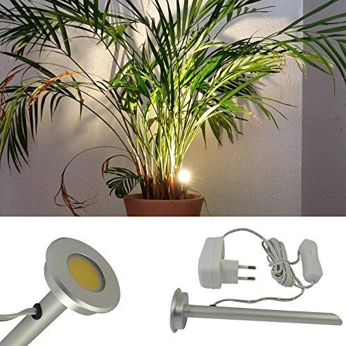 L&E®19009910 - LED Pflanzenlicht aus Aluminium mit Erdspieß inklusive Steckdosentransformator und Handschalter. Pflanzenlampe mit 3 Watt LED , 3200 Kelvin, 250 Lumen, Lichtfarbe: warm weiss. Pflanzenstrahler zum Beleuchten von Zimmerpflanzen für den Innenbereich. Blumenstrahler. led Pflanzenleuchte