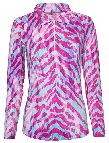 IBKUL Women's Long Sleeve Polo Summer Safari - 11075 (XL, Pink/Turquoise)