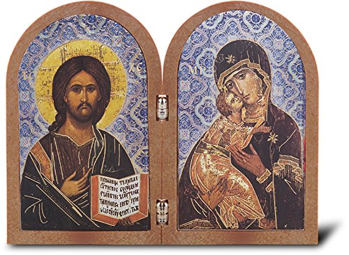 """Christ The Teacher Mother of God Bi-Fold Dyptych Standing Gold Stamped Plaque 3.75"""" x 4.75"""" Imported Italy FONTANA Series"""