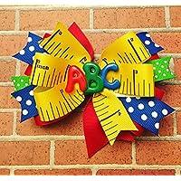 School bow - kindergarten - first day of school - ABC - Polka dot - girls hairbow - hair bow - Back to School - Colorful Bow - ruler bow - polka dot bow - red bow - kindergarten rocks