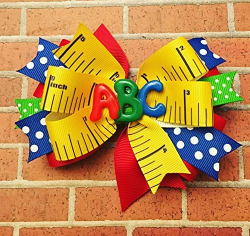 ee93022d2383d School bow - kindergarten - first day of school - ABC - Polka dot - girls  hairbow - hair bow - Back to School - Colorful Bow - ruler bow - polka dot  ...