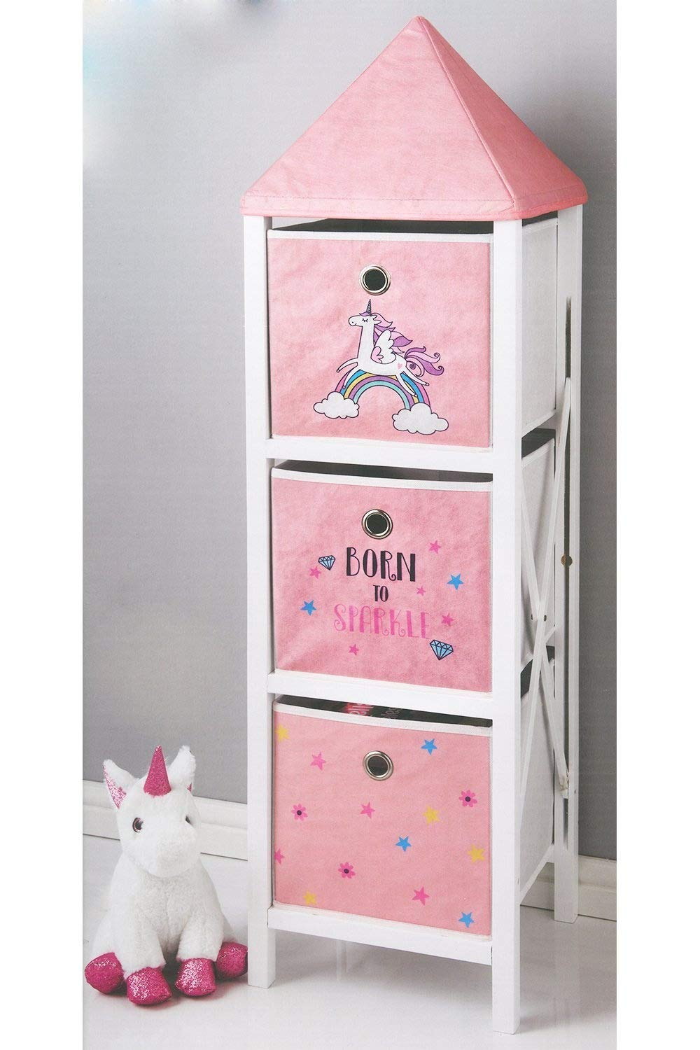 Born To Sparkle Pink Unicorn 3 Tier 3 Drawer Tower Chest