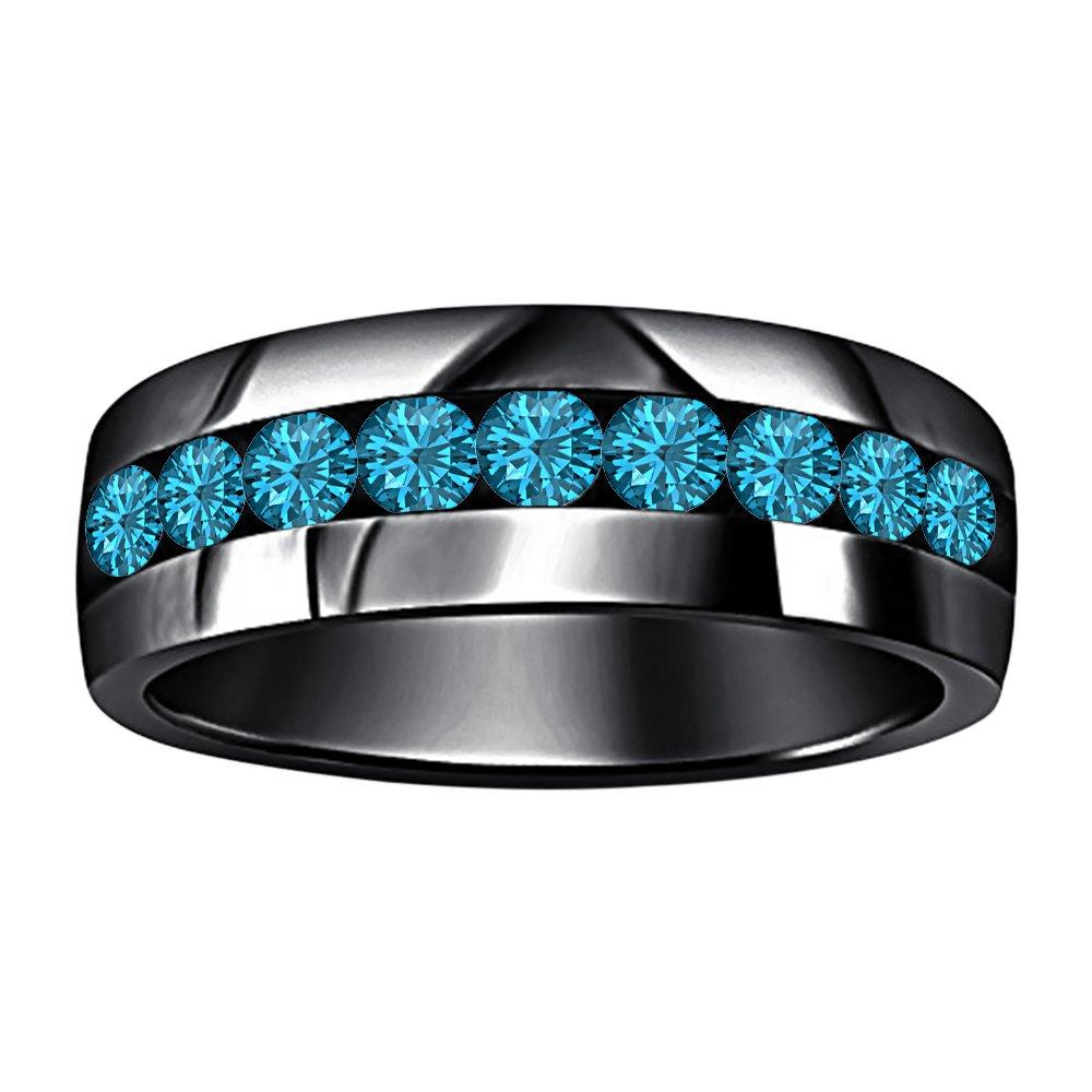 tusakha 14k Black Gold Plated Round Cut Created Blue Topaz 9-Stone Mens Wedding Band Anniversary Ring