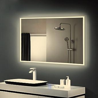 Anten® Badspiegel mit led warmweiß 4000k Design Spiegel für Badezimmer led  Größe 800x600mm Spiegel mit licht Wand-Spiegel