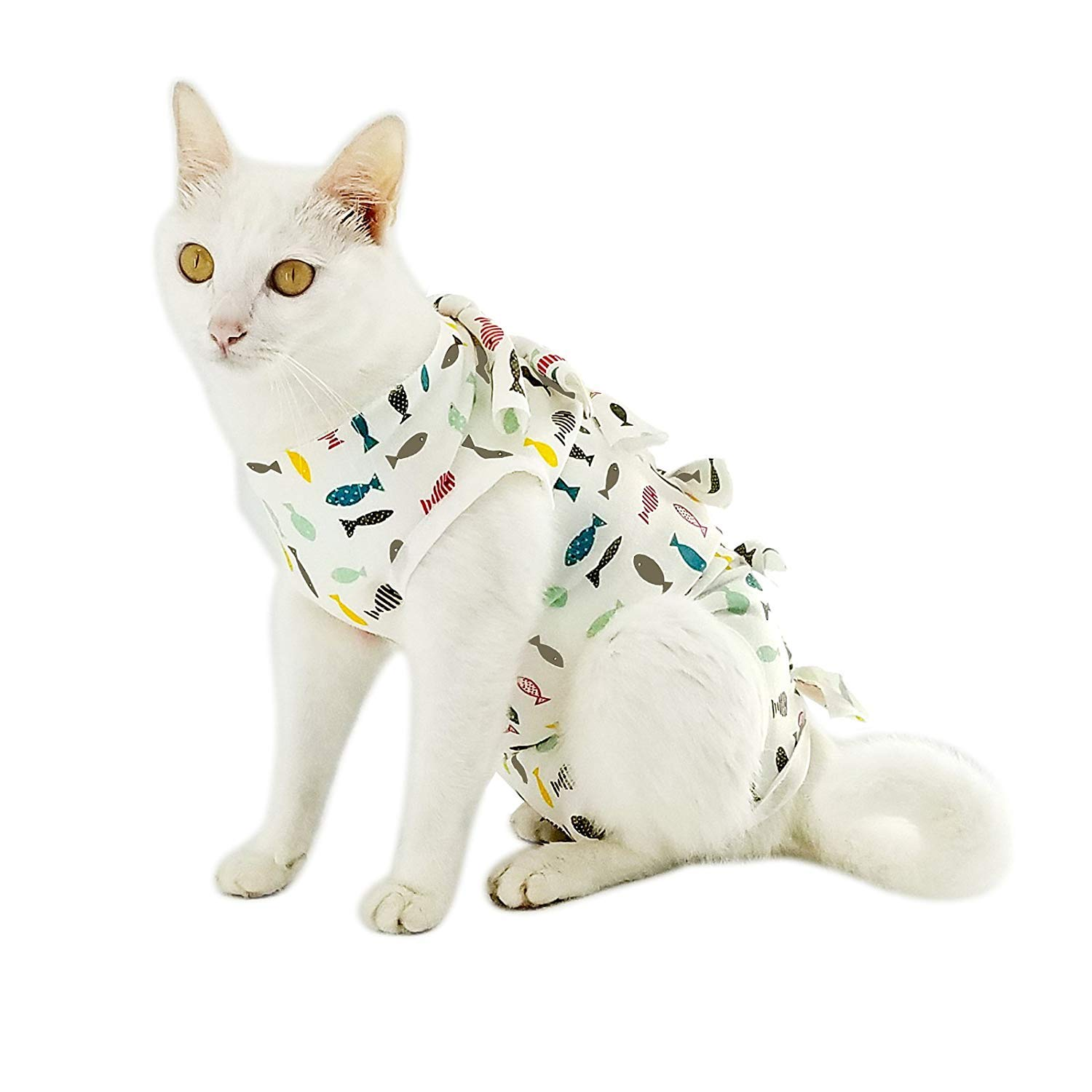 Professional Recovery Suit for Abdominal Wounds and Skin Diseases,E-Collar Alternative for Cats and Female Dogs, Size X-Small, After Surgey Wear, Recommended by Vets