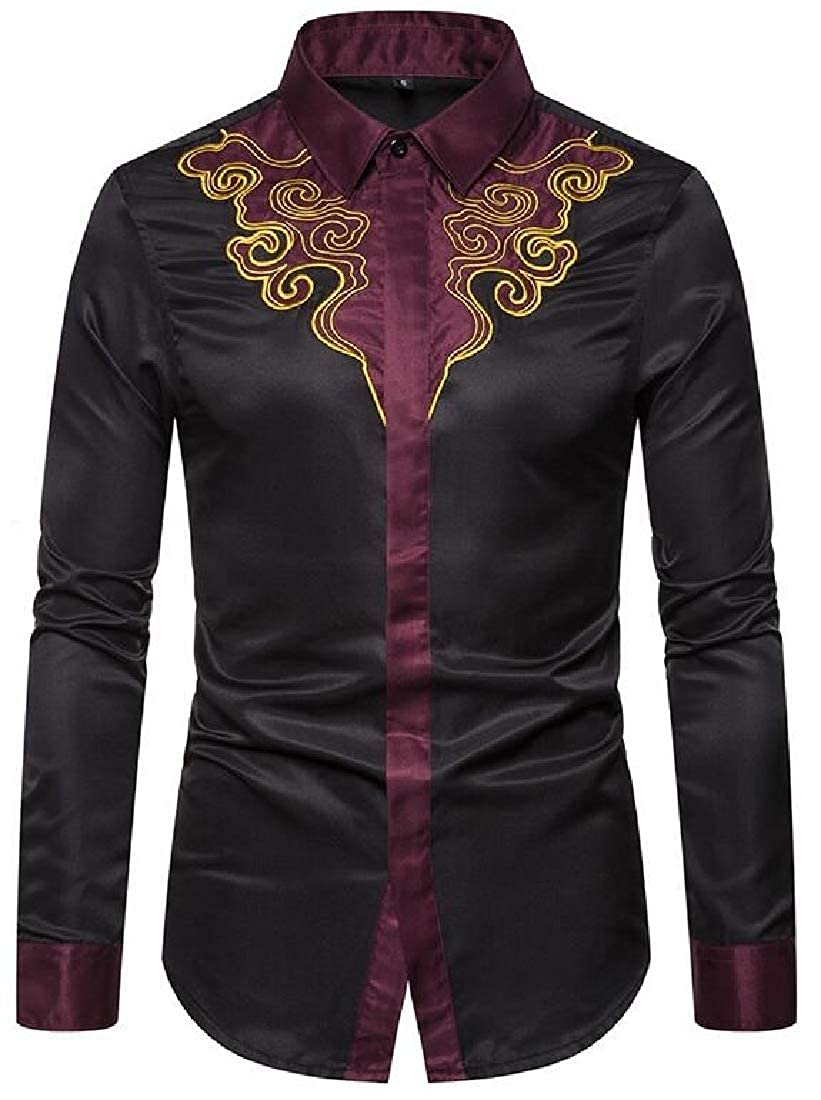 Fubotevic Men Long Sleeve Contrast Embroidery Casual Court-Style Vintage Dress Work Shirt
