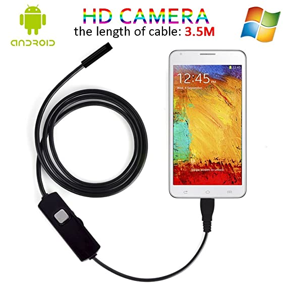 Amazon.com: 3.5M Android OTG Endoscope, 7MM Lens Functional Inspection Snake Camera Tube USB 2.0 MP HD Borescope With 6Pcs LED (Waterproof IP67): Cell ...