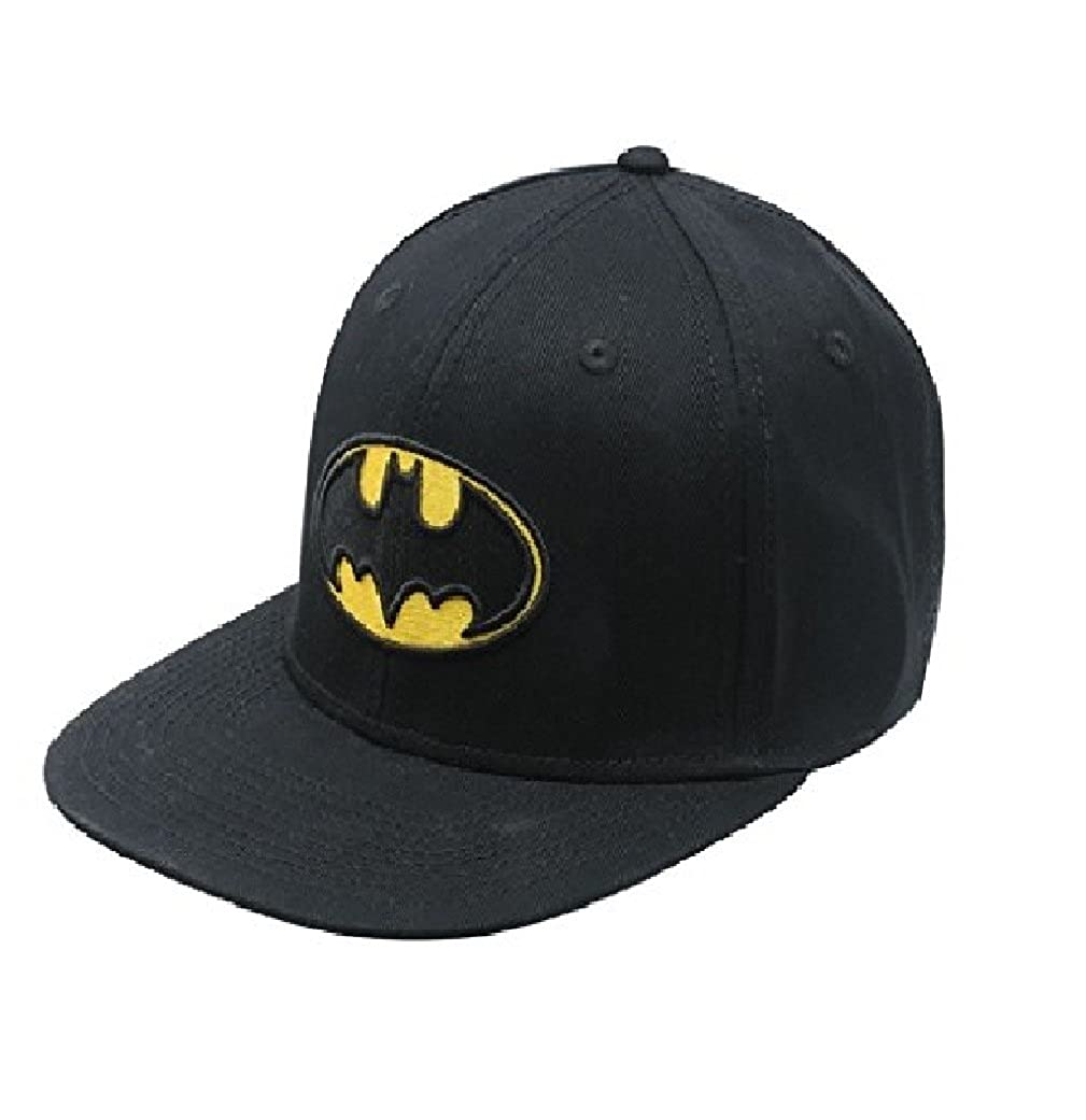 Batman Baseball Cap Hat - Official DC Licensed Flat Peak Snap-Back Hat - Black Cap with Batman Logo