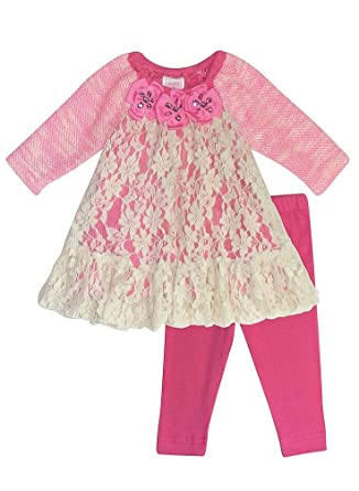 84d79cd26f8fe Peaches n Cream Molly & Millie Baby Girls' Pink Lace Sweater Dress Leggings  Set -