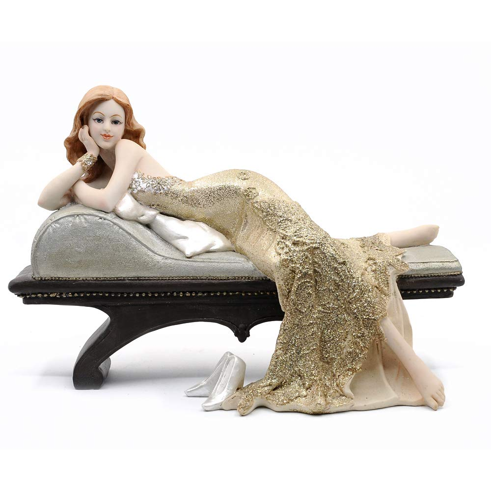 12 Length Gold Comfy Hour Elegant Slim Lady Leaning On Sofa Collectible Figurine