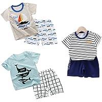 DEYOU Juego de 3 camisetas cortas de manga corta para niños y niñas, paquete de 6