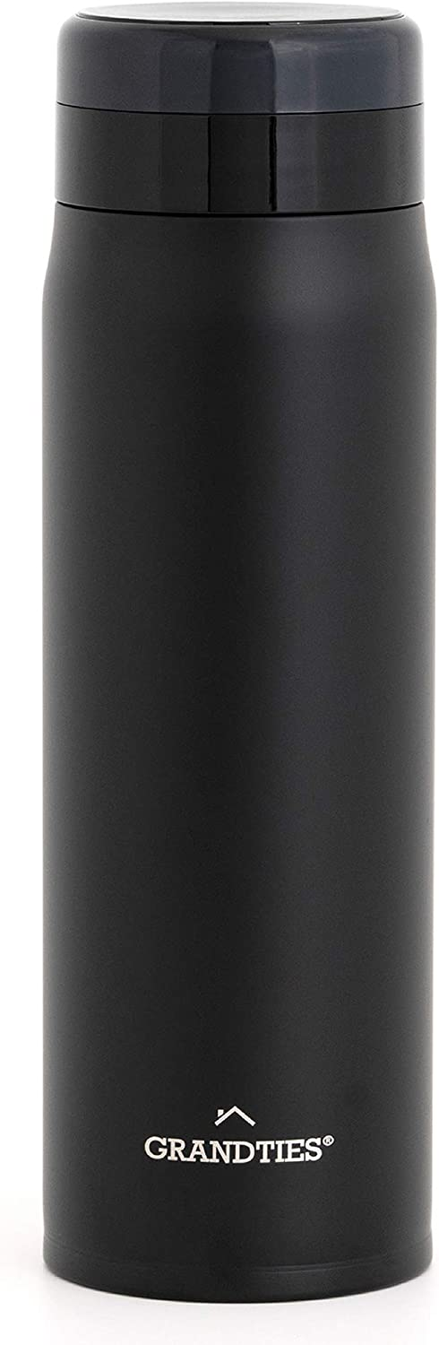 Grandties 20oz Lightweight Stainless Steel Vacuum Insulated Bottle with Strainer for Men & Women Supreme Double Walled Thermal Bottle Keeps Your Favorite Beverages Hot or Cold (Obsidian Black)