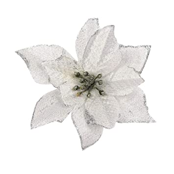 3 White & Silver Poinsettia Clip On Christmas Decoration