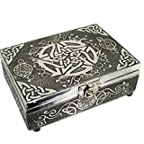 Embossed Silver Finish Wood Pentacle Tarot Box Felt Lining 7x5 inch (18x13cm) by Find Something Different