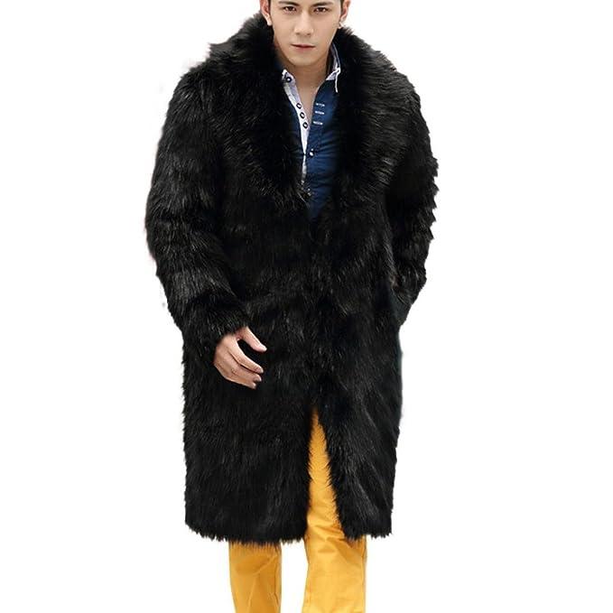 Navidad Abrigo de piel falsa sintética acolchado para hombres ,Yannerr invierno gruesa caliente largo chaqueta
