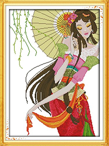 Girl Under Umbrella (Benway Counted Cross Stitch Kit Beautiful Sexly Chinese Girl Under The Umbrella 14 Count 42x56cm)