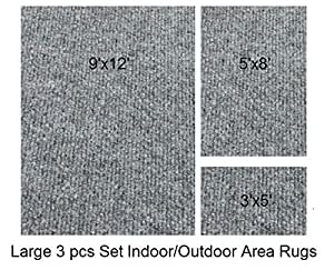indoor outdoor 3 piece set large patio rug 39 s 9x12 area rug 5x8 rug 3x5 mat. Black Bedroom Furniture Sets. Home Design Ideas