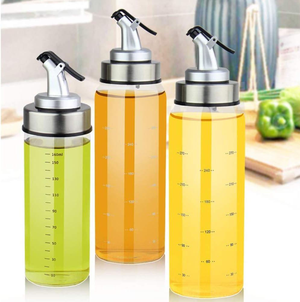 JF Room K/üchen/ölflasche Glas Edelstahl Auslaufsicher Sojasauce Essig Cruet /Ölflasche mit Spender Anti-Schmutz Verschluss Oliven/öl Dispenser Essigflasche Auslaufsicher