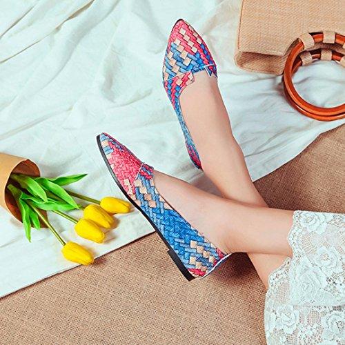 Transer® Damen Flach Spitzes Ende Shallow Mund Mokassins Frühling/Herbst Casual Schuh Rot Grün Blau PU+Gummi Einzelschuhe (Bitte eine Nummer größer bestellen) Blau