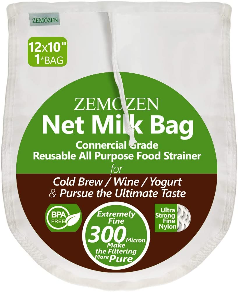 300 Micron Pro Quality Nut Milk Bag for Straining Reusable - 12