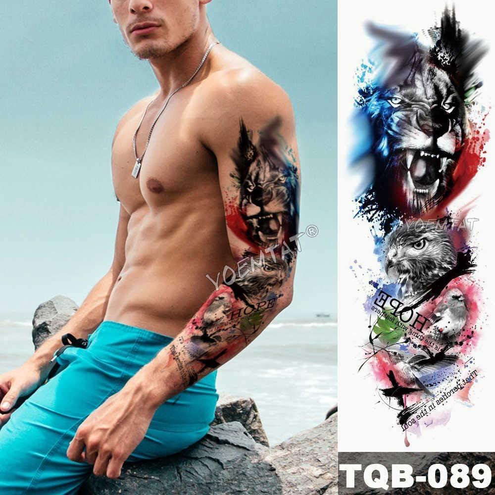 Brazo grande manga tatuaje medianoche leopardo belleza chica ...
