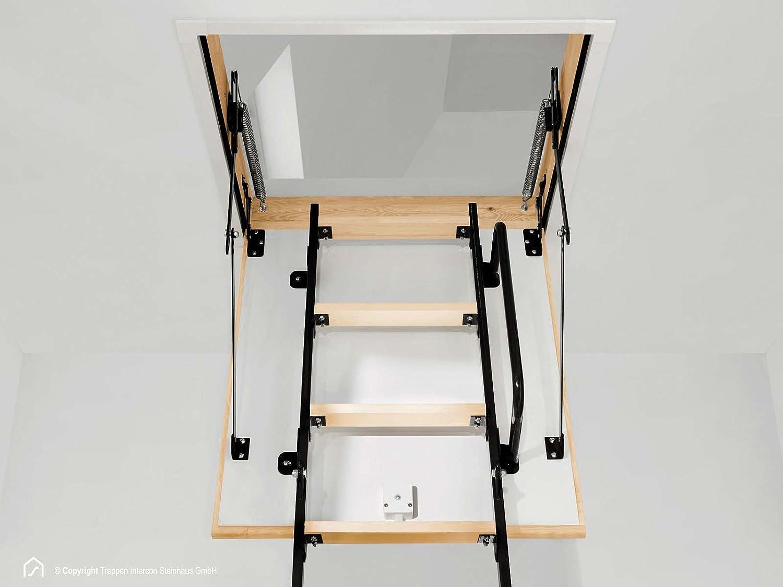U-Wert: 1,22, 100 x 70 cm Intercon/® Mini Bodentreppe 4-tlg Inklusive Zubeh/ör in 4 Gr/ö/ßen bis Raumh/öhe 265 cm U-Wert 1,22 oder 0,852