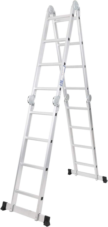 sogesfurniture 3.7 M Aluminium Telescopic Ladder Loft Extension Ladder BHEU-KS-JF-403G Multi-Purpose Extendable Ladder Portable Foldable for Indoor Outdoor use