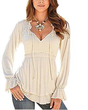 Mujer Camiseta Blusa Mangas Largas Elegante Escote V Tiras Casual Caqui M