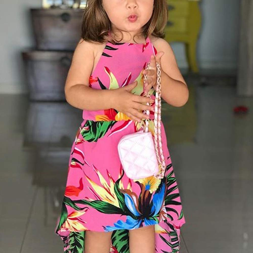 Toddler Kids Baby Girls Sunflower Printed Dress Halter Sleeveless Backless Dresses Sundress Summer Casual Outfit Clothes