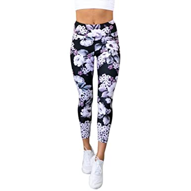 a5966c35a292e Women High Waist Gym Sport Yoga Cropped Leggings Mingfa Floral Printed Workout  Fitness Athletic Capri Trousers: Amazon.co.uk: Clothing