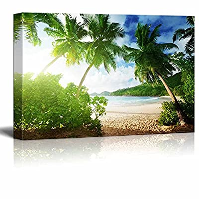 Professional Creation, Alluring Technique, Beautiful Tropical Scenery Landscape Sunset on The Beach Takamaka Mahe Island Seychelles Wall Decor