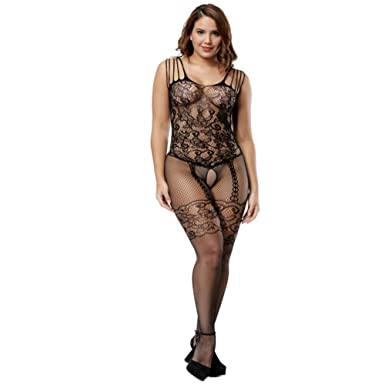 498df8207f4 Ciimii Womens Strap Floral Crotchless Bodystocking Plus Size Bodysuit for  Wome (Blcak)  Amazon.co.uk  Clothing