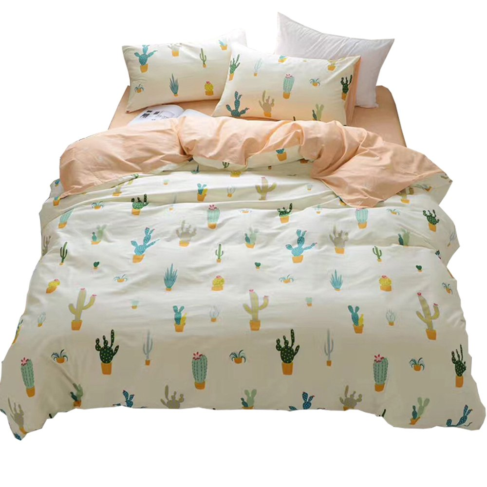 HIGHBUY Soft Cotton Girls Full Bedding Sets with Zipper Closure Reversible Cactus Print Duvet Cover Sets Queen for Children Boys Hypoallergenic Queen Comforter Cover Reversible