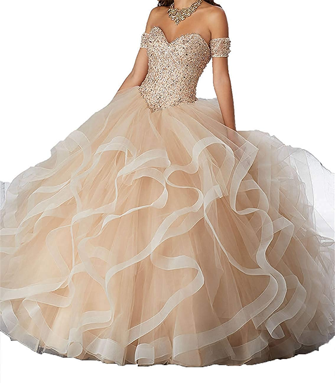 Champagne ASBridal Quinceanera Dress Sweet 16 Formal Prom Party Dresses Crystals Beaded Ball Gowns