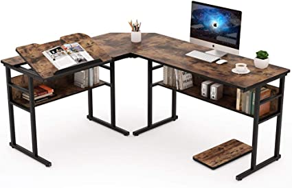 Tribesigns Industrial L Shaped Desk With Bookshelf 67 Inch Double Corner Computer Office Desk Workstation Drafting Drawing Table With Tiltable Tabletop For Home Office Rustic Brown Furniture Decor
