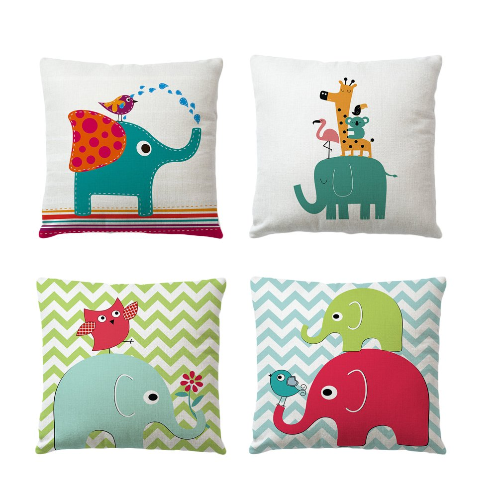 BlueSpace Throw Pillow Covers Elephant Cotton Linen Pillow Case Cartoon Animal Cushion Cover Square 18x18 Inch Home Decor for Sofa Bed Car, Set of 4