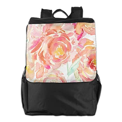 298c6c041dd1 good Peony Watercolor Paint Unisex Casual Travelling Backpacks ...