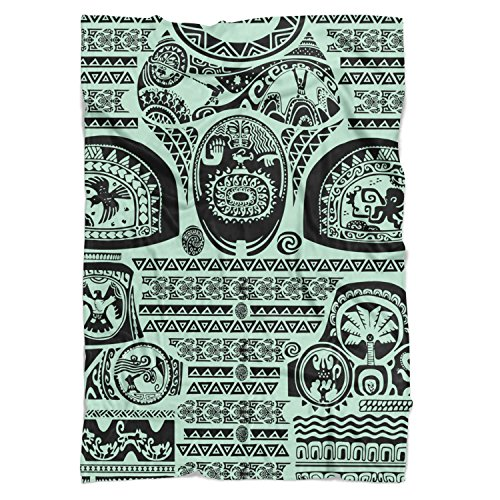 Queen of Cases Maui Tattoos Inspired Disney Moana Mint - Large Fleece Blanket 80x60in - Fleece Blanket - Soft Throw ()