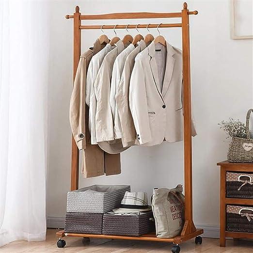AOLI Estante de ropa Perchero de madera maciza Perchero ...