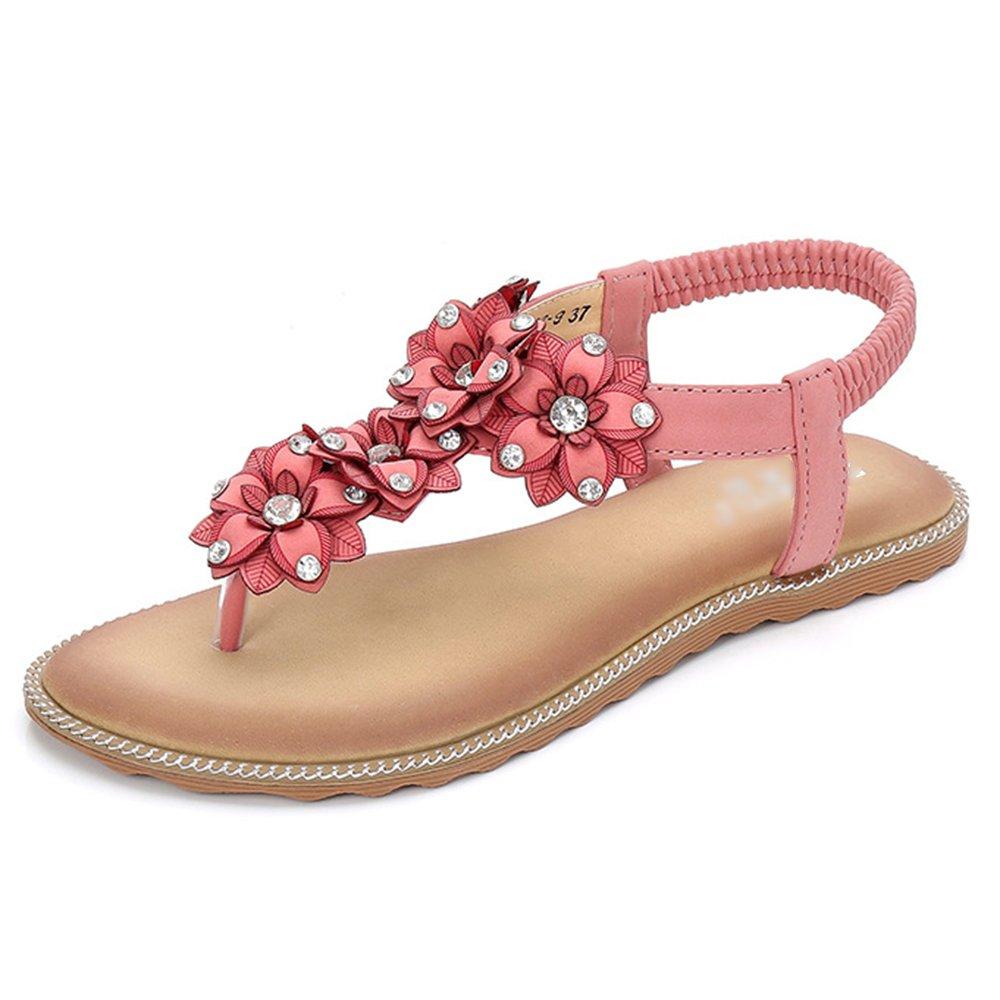 PDFGO Summer Womens Sandalen Bohemian Style Clip Toe Strand Schuhe Strass Geblümten T-Strap Elastische Reise Flache Schuhe  EU36/UK3|Pink