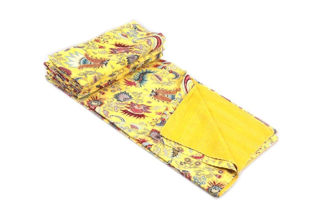 Mukat Print King Size Kantha Quilt Multi Kantha Blanket, Bed Cover, Inch 100% Cotton Quilt Floral Pattern Home Décor Kantha Reverssibl King Kantha Bedspread, Bohemian Bedding Kantha Size 90 Inch X 108