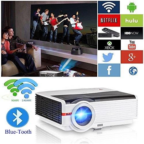 "200"" LCD LED HD Android Projector Wifi 4200 Lumen WXGA 3D, Multimedia Home Cinema Theater Video Projector 1080P Support HDMI VGA USB SD AV TV for Movie TV Game Video Home Outdoor Entertainment"