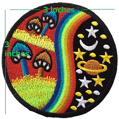 PRETTY CUTE COLORFUL MUSHROOM STAR SPACE Iron on Patches (Mushroom Hat Area Light)