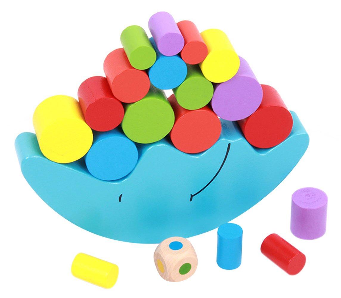 Wooden Cartoon Moon Balance Toy Balancing Game Set Stacking Cylinder Blocks Educational Toys for Kids