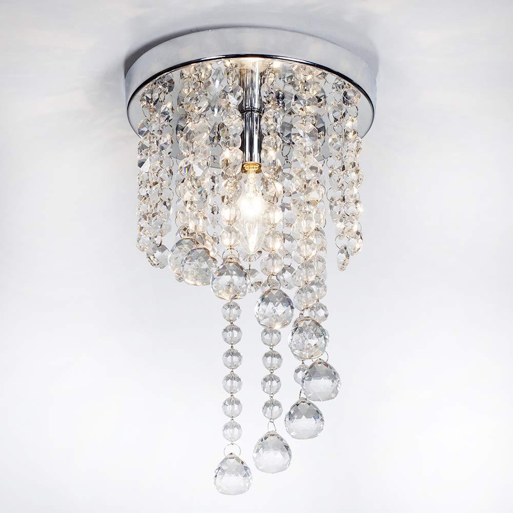 """SOTTAE Mini Living Room Dining Room Bedroom Flush Mount Ceiling Light Fixture Modern Mini Style 1 Light Modern Crystal Chandelier,Chrome Finish(8"""")"""