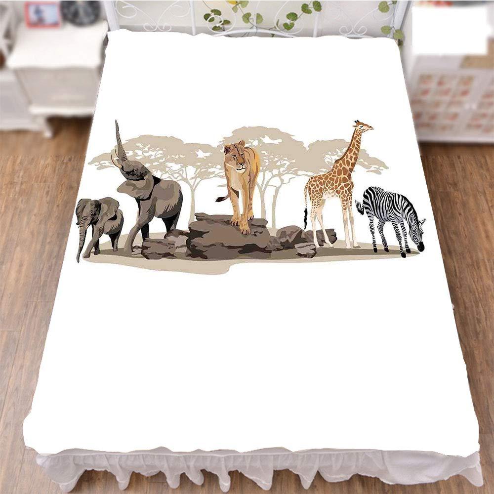 iPrint Bedding Bed Ruffle Skirt 3D Print,Savannahs African Animals Exotic Giraffe Lion,Best Modern Style Bed Skirt for Men and Women by 94.5''x102.3''