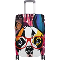 Mydaily French Bulldog Wearing Sunglasses Luggage Cover Fits 18-32 Inch Suitcase Spandex Travel Protector