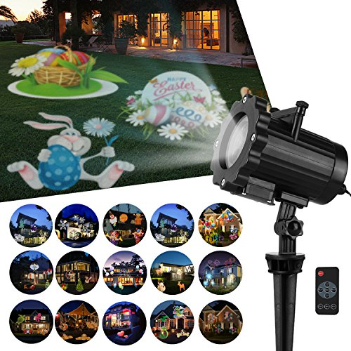 Zenic LED Decorative Projector Lights, 6W 16 Switchable Pattern Slides Lighting Waterproof Landscape Projector Light with Remote Control Indoor Outdoor for Valentine's Day Easter Holiday Party