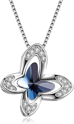 Ocean Blue Butterfly Love Fashion Jewelry Pendant Necklace Women Girlfriend Gift